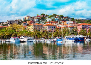 Boats and yachts in the La Specia city port, Liguria region of Italy