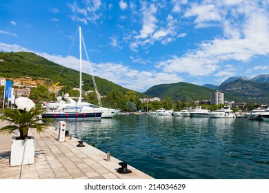 Boats and yachts moored in harbor in Budva, Montenegro.