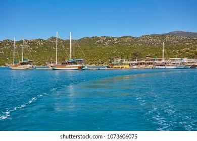 Boats and yachts, near Kekova island, Turkey