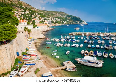 boats and yachts in the Old port of Dubrovnik, Croatia