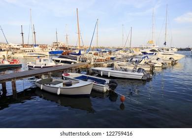 Boats and yachts at Paphos harbor