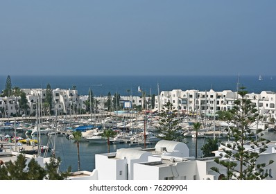 Boats and yachts from Port el Contaui harbor. Tunisia, Africa.