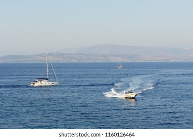 Boats and yachts in the sea