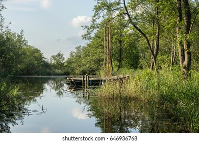 Boats in Zwartsluis, in the Weerribben-Wieden National Park, Netherlands