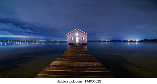 Boatshed Perth in blue night sky