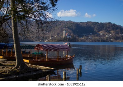 Boat,trees, forest and island in Slovenija