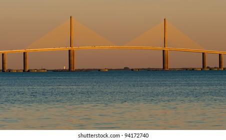 The Bob Graham Sunshine Skyway Bridge as viewed from Fort De Soto Park in Tierra Verde, Florida