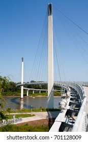 The Bob Kerrey Pedestrian Bridge from the Omaha side