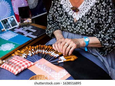Bobbin lace in the city of Bruges, Belgium