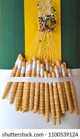 Bobbin lace (encaje de bolillos), traditional textile crafts from Almagro province of Ciudad Real, Castilla la Mancha, Spain
