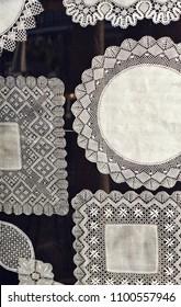 Bobbin lace (encaje de bolillos), traditional textile crafts from Almagro, province of Ciudad Real, Castilla la Mancha, Spain