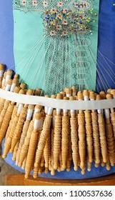 Bobbin lace, traditional textile crafts from Almagro province of Ciudad Real, Castilla la Mancha, Spain