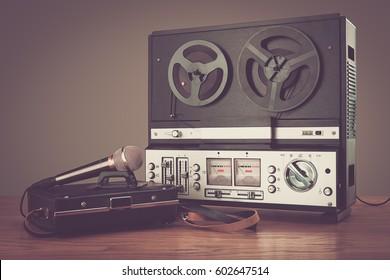 Bobbin tape recorder retro micrphone. Studio photo.