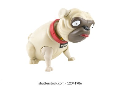 Bobble-head plastic toy Pug dog, isolated on a white background.