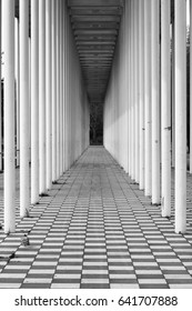 Boblingen, Baden-Wurttemberg, Germany - April 23, 2017: Wandelhalle Portal in Boblingen. Modern structure of white columns in perspective. Geometric black and white composition.
