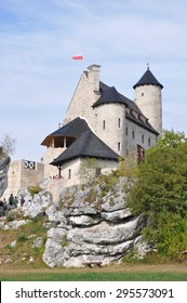 BOBOLICE - July 14: Bobolice Castle on July 14, 2014 in Bobolice, Poland. Bobolice is one of the medieval fortresses in the Jura (near Krakow, Poland). All the fortifications are called Eagle's Nests.