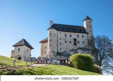 BOBOLICE, POLAND - APRIL 26, 2018: Gothic castle and hotel in Bobolice, Poland. Castle in the village of Bobolice, Jura Krakowsko-Czestochowska. Castle in eagle nests style.