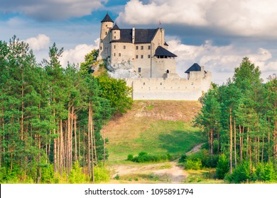 Bobolice, Poland - August 13, 2017: the stone medieval castle of Bobolice on the hill