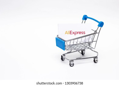BOBRUISK, BELARUS - JANUARY 30, 2019: Shopping trolley on a white background online store, marketplace Aliexpress