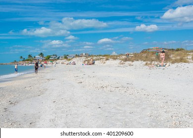 Boca Grande Beach on Gasparilla Island, in southwest Florida.  A popular beach for sun, surf and sand and known for its sugar sand beaches, shelling, blue water and world class fishing.