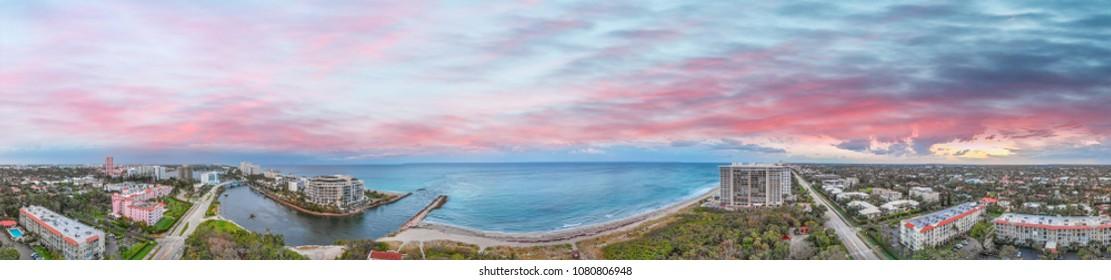 Boca Raton aerial sunset panoramic view, Florida coastline.