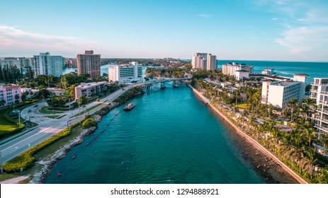 """Boca Raton, FL / USA - 8-1-18: Beautiful Blue Boca Raton Inlet"""