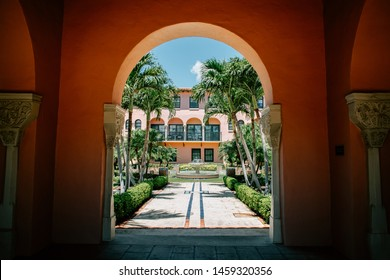 BOCA RATON, FL USA - Beautiful archway with view of the courtyard and water fountain at the Boca Raton Resort & Club as seen on July 16, 2019.