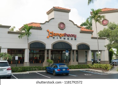 Boca Raton, Florida - Circa 2018: Orange Theory Fitness gym fitness studio exterior outside facade during day time. Heart rate interval training workouts with class trainer structure.