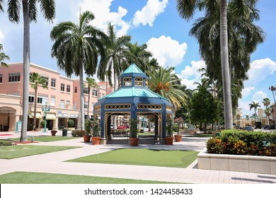 BOCA RATON, FLORIDA, USA - JUNE:  Mizner Park Shopping Mall an elegant, upscale and laid back shopping center in downtown Boca, as seen on June 13, 2019.