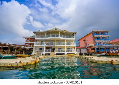 BOCAS DEL TORO, PANAMA - APRIL 23, 2015 : Bocas Town, a hub for dining, shopping and nightlife, with reggae music emanating from open-air bars