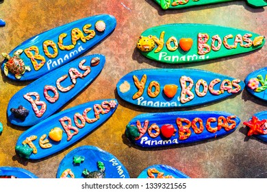 BOCAS DEL TORO, PANAMA - FEB 23, 2018: A view of typical tourist souvenirs being sold on the island of Bocas del toro in Panama