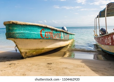 Bocas del Toro, panama. March 2018. A view of an old boat on Starfish beach on Bocas del Toro, in Panama.