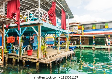 Bocas del toro Panama. March 2018. A view of one tof the boat jettys on the island of Bocas del toro in Panama.
