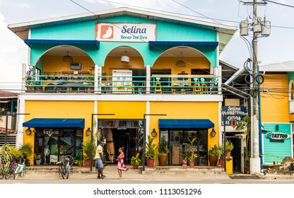 Bocas del toro Panama. March 2018. A view of Selinas hostel on the island of Bocas del toro in Panama.