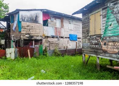 BOCAS DEL TORO, PANAMA - MAY 20, 2016: Dilapidated houses in Bocas del Toro town, Panama
