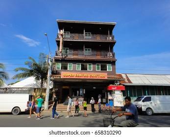 BOCAS DEL TORO/PANAMA - SEPTEMBER 30 2017: Streets and buildings of Bocas Del Toro town in Panama. Central America