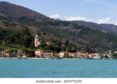 Bocca di Magra village on the River Magra. Italy.