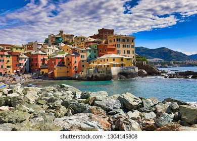 Boccadasse, Italy is a small fishing village in the Genoa (Genova) area.  This popular tourist attraction is easy to get to from the city.  the colorful village sits on the shores of the Mediterranean