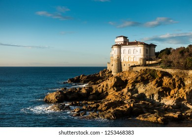 Boccale Castel's on the sea. Historical caste on the rocks in front od the Tyrrhenian sea in Italy,