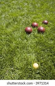 Bocce balls in the back yard grass