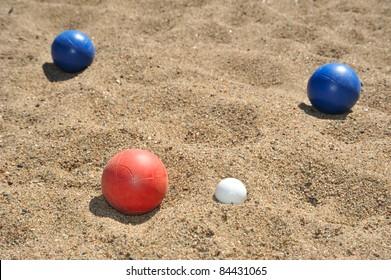 Bocce balls on a beach