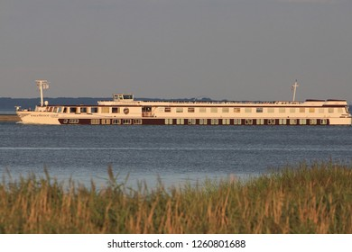 Bock, Germany August 5, 2017: An excursion boat passes through the Baltic Sea off the island of BockBock, Deutschland 5. August 2017: Ein Ausflugsschiff durchfährt die Ostsee vor der Insel Bock