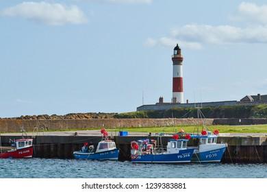Boddam, Aberdeenshire, Scotland. Circa 2018. Boddam harbour, in Aberdeenshire.