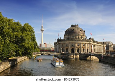 Bode Museum on Museum Island with TV Tower in background, Berlin, Germany, Europe