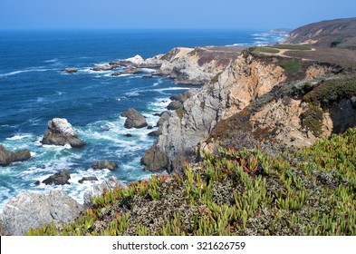 bodega head peninsula and rocky shoreline off pacific ocean in sonoma coast state park of california