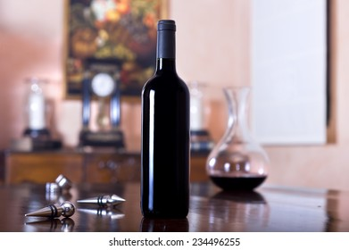 Bodegon with a bottle of wine