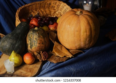 Bodegon of pumpkins, apples, pears, and grapes. In the United States, the Thanksgiving Day is a tradition documented 1621 celebration at Plymouth and was prompted by a good harvest.