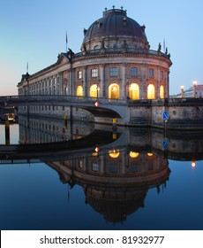 Bodemuseum (Bode Museum) panorama reflection, famous landmark in Berlin City, Germany at night