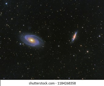 Bode's Galaxy M81,M82 in Ursa Major constellation with Nebula,Open Cluster,Globular Cluster, stars and space dust in the universe and Milky way taken by dedicated astrophotography camera on telescope.