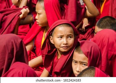 bodh gaya bihar april 30th 2018: child tibetan lamas gatherd during prayer time at bodh gaya bihar india.